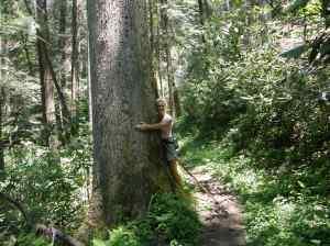Rachelle hugging a tree