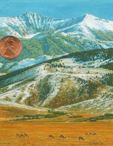 """Majestic montana"" by Wes, shown with a US penny for scale (3 1/2 x 4 1/2)"