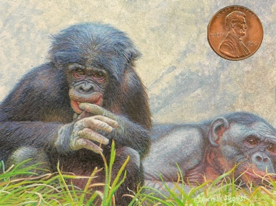"""Baby Bonobo"" 2 1/2 x 3 1/2 by Rachelle, shown with US penny for scale."