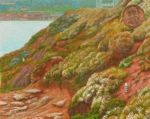 """Nesting at La Jolla"" by Rachelle shown with US penny for scale. 3 1/2 x 4 1/2"""