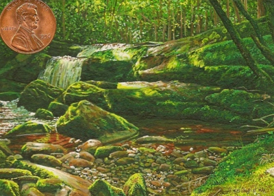 """Middleprong Stream"" by Wes shown with US penny for scale. 2 1/2 x 3 1/2"""