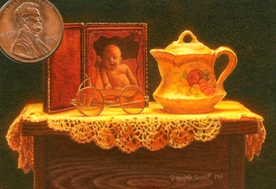 """Precious Memories"" by Rachelle shown with US penny for scale. 2 1/2 x 3 1/2"""