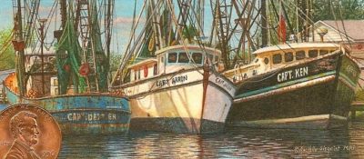 """The Captains at Rest"" by Rachelle shown with US penny for scale. 3 1/2 x 4 1/2"""