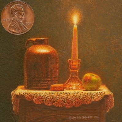 """Stilllife by Candlelight"" by Rachelle shown with US penny for scale. 2 1/2 x 21/2"""