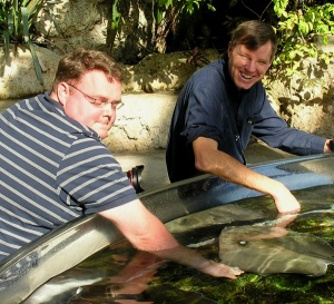 Andrew concentrates on feeding the stingrays, while Wes waits to see if they take a finger at the TN Aquarium.