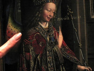 "My finger beside Jan Van Eyck's ""Annunciation"". Painted in 1434 the details are just amazing!"