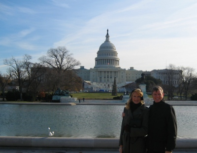 Rachelle and Wes in front of The U.S. Capital.