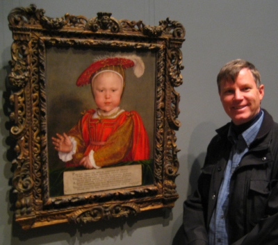 "Wes beside Hans Holbein the Younger's ""Edward VI as a Child""."