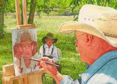 Wes's miniature painting in progress featuring our good friend, Lee Cable, doing a plein air portrait. 2 ½ x 3 ½