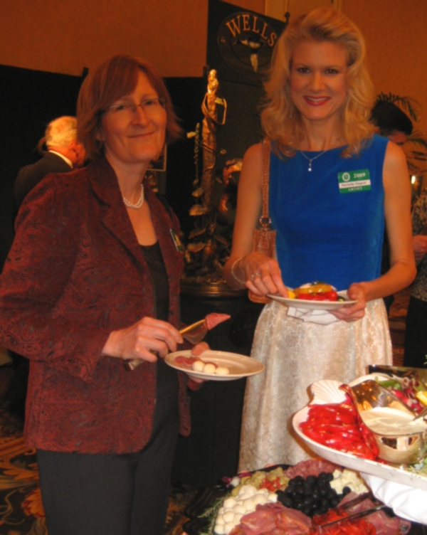 Fellow artist, Patricia Pepin and I enjoy some of the decious food at the gala opening.