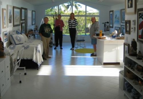 Visiting in Tykie's Ganz's studio.  L to R, Tykie, my mom Sally, Myself, & Tykie's husband Ernie.