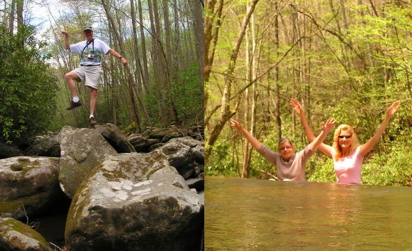 Wes showing off his amazing balancing skills, and Karen and I cooling off and cutting up in the stream.