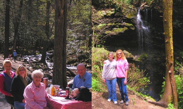 All of us enjoying a beautiful picnic in Cade's Cove and Karen and I in front of White Oak Sinks Falls in the Smokies.