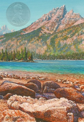 """Jenny Lake"" by Wes, measures 3 1/2 x 2 1/2 inches, and is shown with a"