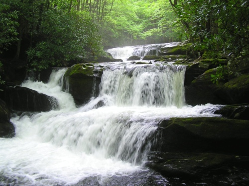 A beautiful waterfall along the Middle Prong in the Smokies.