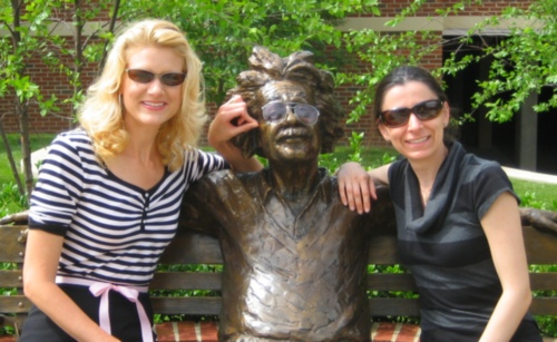 Neli and I hang out with Albert on a park bench in sparatanburg.