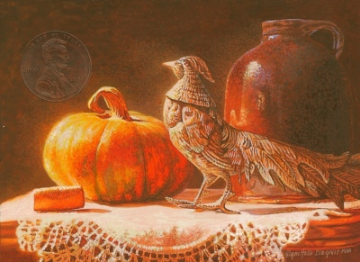 """Still Life With Granny's Pheasant"" by Rachelle, measures 2 3/4 x 3 3/4 inches, and is shown with a transparent penny for scale."