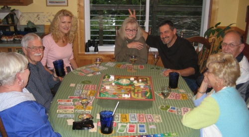 L to R; Beverly, Avery, me, Judy, Earnie, Jim and Uschi, with Wes taking the photo and being the banker for the game.