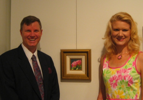 Wes and I by his painting in the Blossom exhibit.