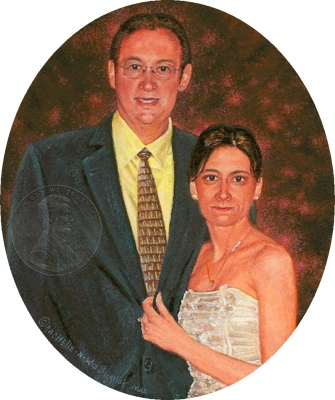 """David and Neli"""" by Wes measures 3¼ x 2½ inches."""
