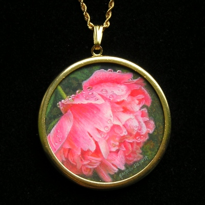 """My Pink Peony"" by Rachelle is 1 1/4 inches."