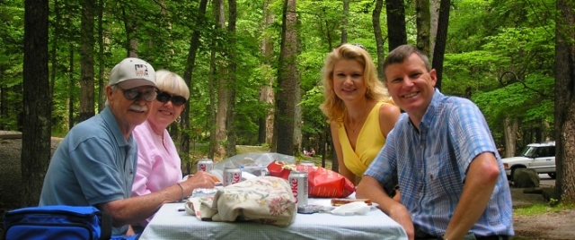Avery, Beverly, myself and Wes enjoying a delicious picnic in Cades Cove.