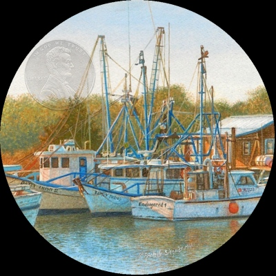"""Boats At Shem Creek"" by Rachelle, measures 2 3/4 inches."