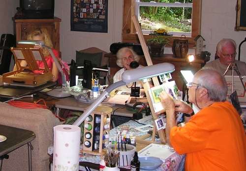 L to R; Me, Tricia, Woody and Fred all painting away.