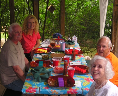 Woody, myself, Fred and Tricia, along with wes taking the photo, all enjoying taco day.