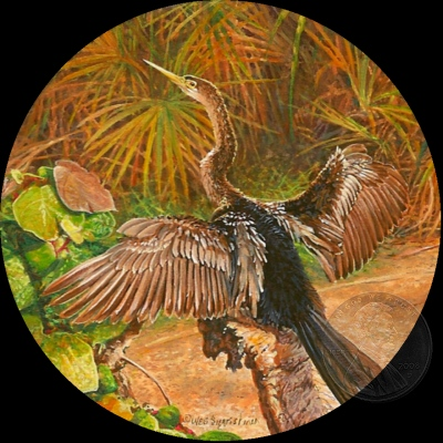 """Basking Anhinga"" by Wes, measures 2 3/4 inches."