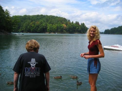 Enjoying feeding the ducks at Lake Glenville.