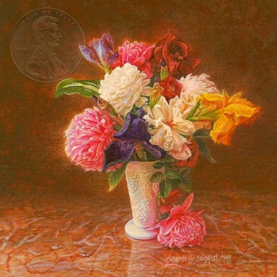 """My Spring Flowers"" by Rachelle, measures 2 3/4 X 2 3/4 inches."