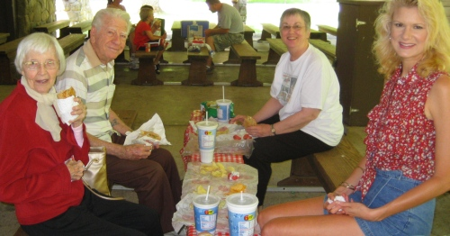From L to R: Nana, Earl, Ann and me enjoying our lunch.