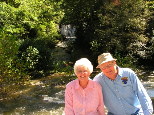 Jean and George in front of Meigs Falls.