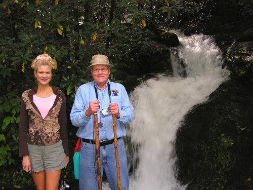 George and I at the waterfall along the Little River Trail.