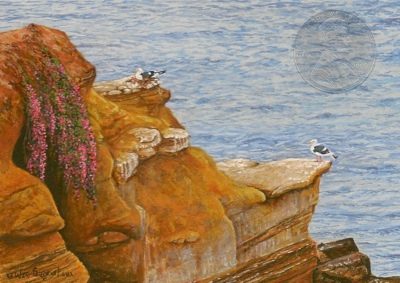 """The California Coast"" by Wes, measures 2 1/2 X 3 1/2 inches""."