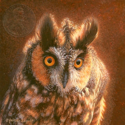 """Long-eared Owl"" by Rachelle, measures 2¾ x 2¾ inches."
