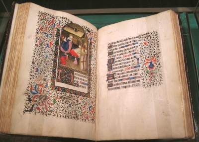 A photo of the Book of Hours at the Speed Art Museum.