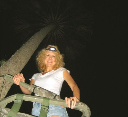 Me in a very tall Sable Palm, in my brother's tree stand.