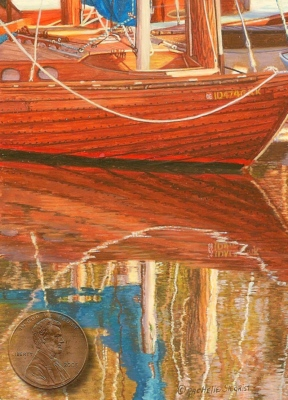 """Marina Reflections"" by Rachelle, measures   3 3/4 X 2 3/4 inches."