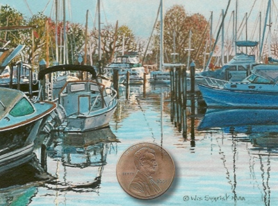 """Morning Reflections"" by Wes, measures 2 1/2 X 3 1/2 inches."
