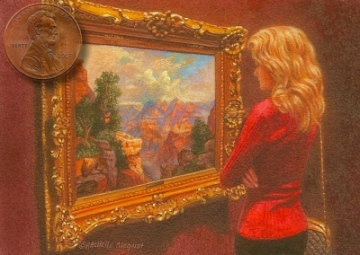 """Admiring Moran's Grand Canyon"" by Rachelle, is 2½ x 3½ inches"