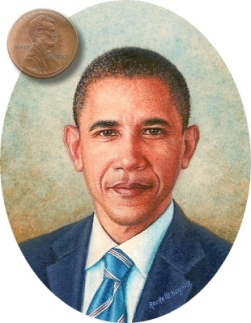 portrait miniature of President Barak Obama