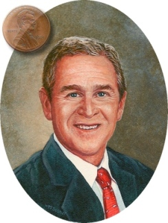 portrait miniature of President George W. Bush