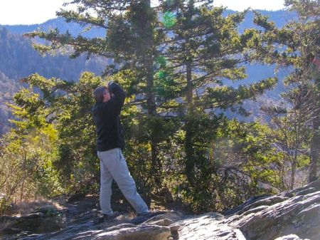 Wes photographing Crossbills on Maggie's Pulpit