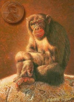 chimpanzee painting miniature