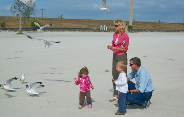 feeding seagulls at lake okeechobee