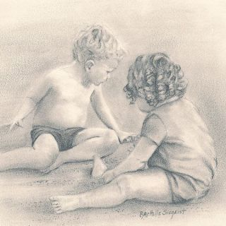 A miniature drawing of Tyler and Haydyn at the Beach