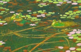 miniature painting of frogs