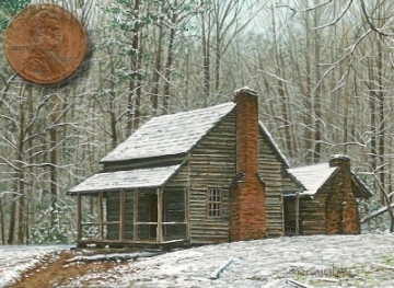 miniature painting of the john whitehead cabin in cades cove